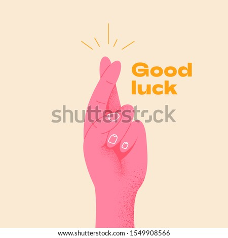 Pink hand crossing fingers and wishing for good luck. Fingers crossed, hand gesture. Lucky sign. Promise signal with two fingers. Flat design style. Vector illustration hand wishing something.
