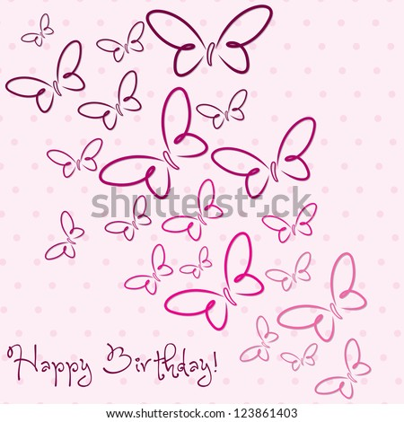Pink hand drawn Happy Birthday butterfly card in vector format.