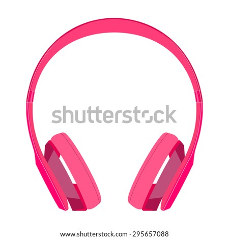 pink headphone isolated on white