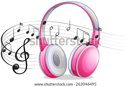 pink headphone with music notes