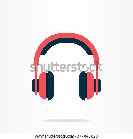 Pink headphones. Headphones icon. Flat design. Headphone logo. Music logo. Music company logo