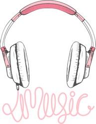 pink headphones illustration,vectors, typography