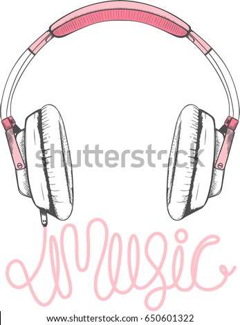 pink headphones illustration