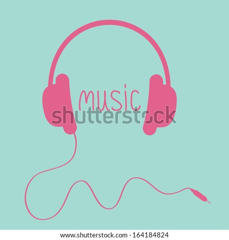 pink headphones with cord and