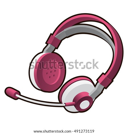 pink headphones with microphone