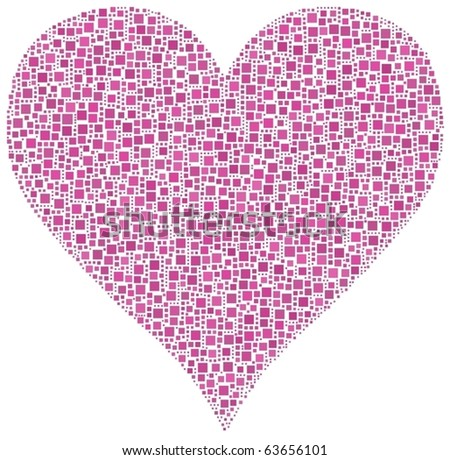 Pink heart. A number of 2881 squares are inserted into the mosaic
