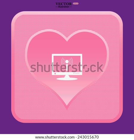 pink heart  computer surrounded