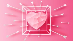 Pink Heart inside square frame with arrows around frame. paper cut and craft style. vector, illustration.