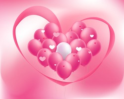 Pink heart, pink balloons lovely sweet pink background, valentineday, love, lovely, sweet pink.