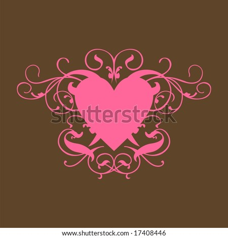 stock vector : Pink Heart Scroll on Brown Background