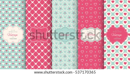 Shutterstock Pink heart seamless pattern background. Vector illustration for holiday design. Abstract romantic photo frame. Stylish decorative bright label set. Fashion valentine day ornament.