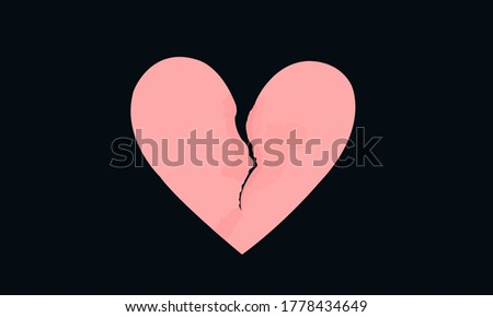 Pink heart shaped paper with torn marks. Broken heart, unrequited love. Stock photo ©
