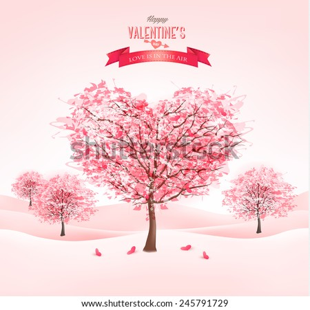 pink heart shaped sakura trees