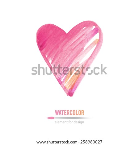 pink heart  vector watercolor