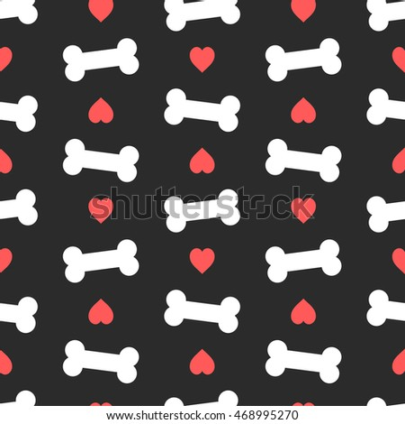 pink hearts and bones seamless