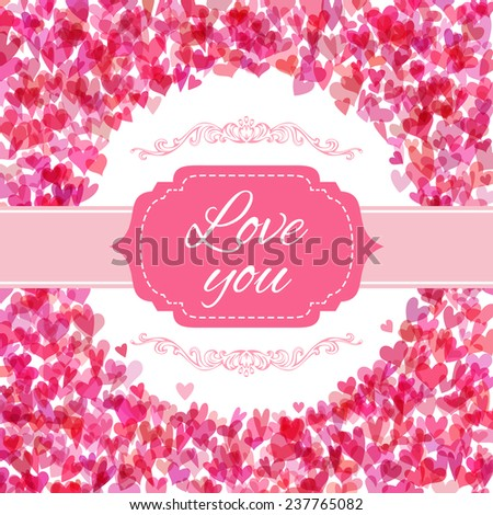 pink hearts background set of