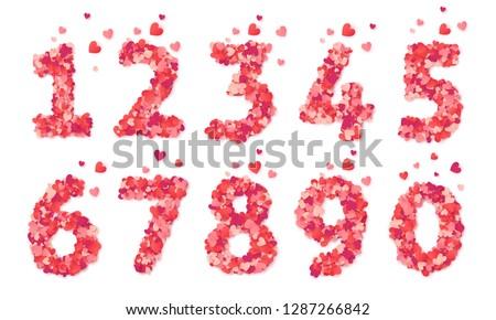 pink hearts confetti vector