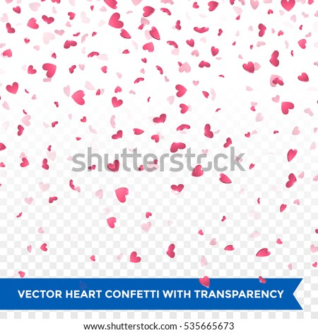 pink hearts falling valentine