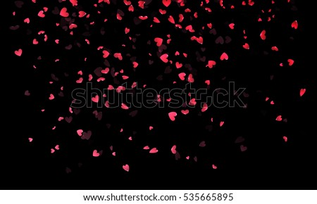 pink hearts petals falling on