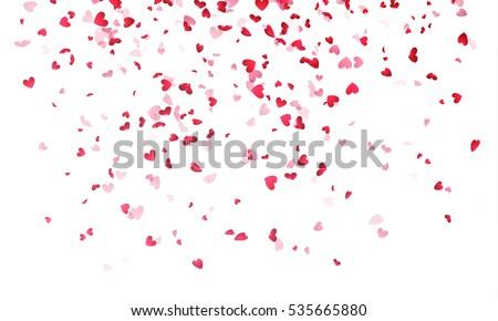 pink hearts petals falling on