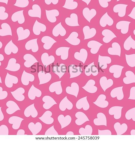 Pink hearts seamless pattern. Love. Valentine\'s Day background.