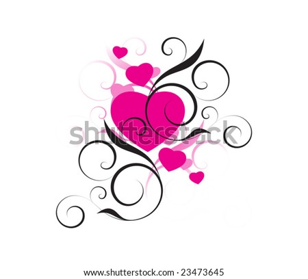 pink hearts with decorative elements on a white background