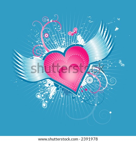 stock vector : pink hearts with wings on blue background