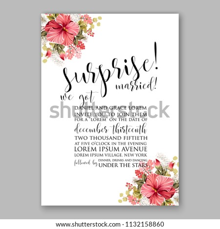 Pink hibiscus aloha Floral wedding invitation or greeting card/ Wreath of flower for marriage baby shower bridal shower invitation, party celebration vector printable template watercolor background