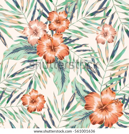 pink hibiscus flowers and palm