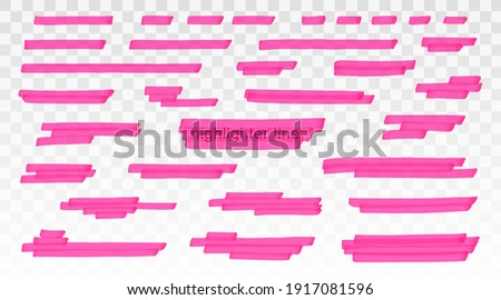 Pink highlighter lines set isolated on transparent background. Marker pen highlight underline strokes. Vector hand drawn graphic stylish element Foto stock ©