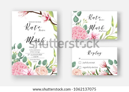 Pink hydrangea, powder rose, blooming magnolia, orchid, fern, eucalyptus and greenery bouquet for Invitation cards for marriage, rsvp reply, Wedding invite template with watercolor flowers. Boho   #1062137075