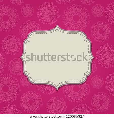 Pink Invitation Card with Blank Label and Abstract Circle Pattern. Space for Text