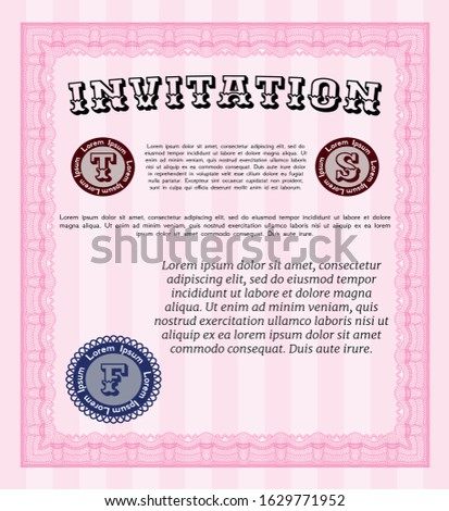 Pink Invitation template. With guilloche pattern and background. Customizable, Easy to edit and change colors. Excellent design.