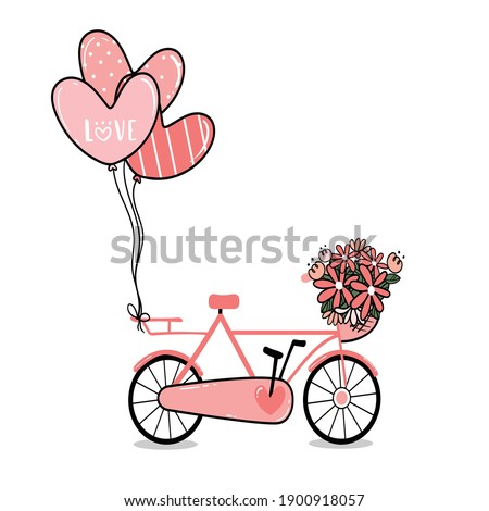 pink lady bicycle with flower