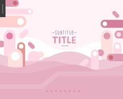 Pink landscape template design mockup vector banner or slider - rounded colorful shapes abstract scenery on pink background accompanied with a title emplates