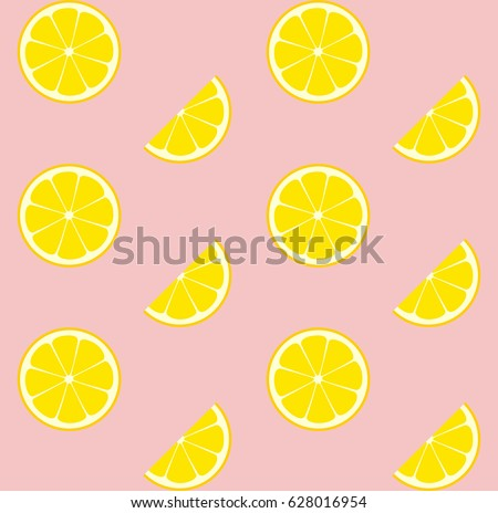 Pink Lemonade Seamless Vector Pattern Tile. Yellow Lemons Round Halves and Slices Arranged on Pink Background. Lemonade Stand Picnic Party Decoration. Food Packaging Design. Swatch Included.