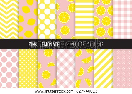Pink Lemonade Vector Patterns. Yellow and Pink Lemon Halves and Slices, Stripes, Polka Dots and Gingham. Lemonade Stand Picnic Party Decor. 50s Rockabilly Backgrounds. Pattern Tile Swatches Included.