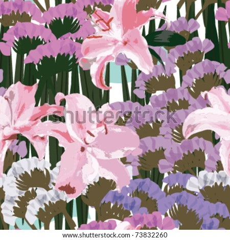 Pink lilies and purple Myosotis sylvatica flowers, watercolor, seamless patterns, soft color floral patterns, vector