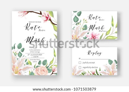 Pink lily, powder rose, blooming magnolia, orchid, fern, eucalyptus and greenery bouquet for Invitation cards for marriage, rsvp reply, Wedding invite template with watercolor flowers. Boho   style.  #1071503879