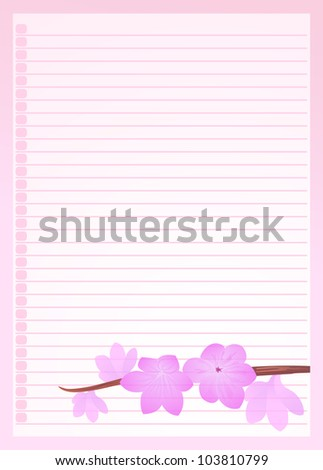pink line paper ornamented with pink flower