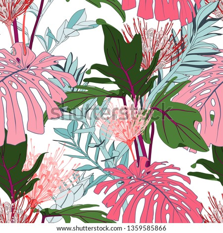 Pink line protea flowers with exotic pink monstera and green tropical leaves, white background. Floral seamless pattern. Tropical illustration. Summer beach design. Paradise nature.