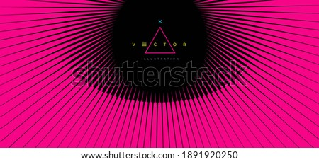 pink line rays fly out of black