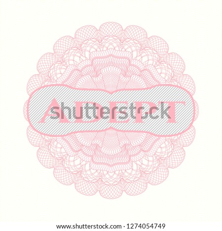 Pink linear rosette with text Adept inside