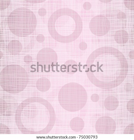 Pink linen cotton fabric with drawing circles