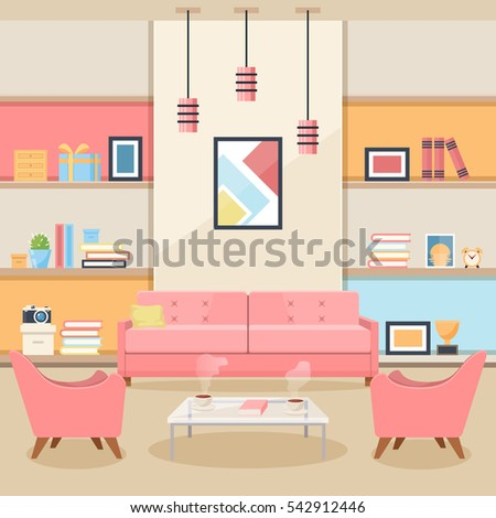 pink living room with furniture