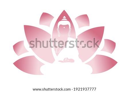 Pink Lotud and Lord Buddha. Symbol of buddha. Vesak day greeting background with Buddha and lotus flower. Yoga, spirituality. Vector Buddha silhouette for spa logo
