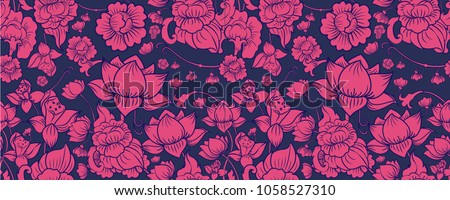 Pink Lotus on Navy Graphic Background in Oriental and Asian Style. Thai Lotus Pattern