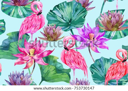 Pink lotus, tropical flowers, leaves, flamingos vector seamless pattern background, watercolor style
