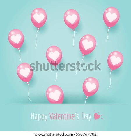 Pink love heart balloons floating on blue background. #550967902