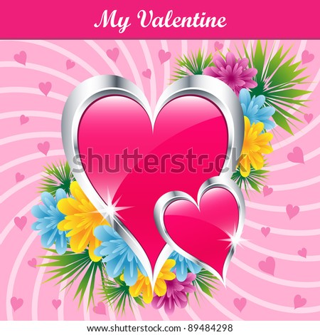 stock vector Pink love hearts and flowers symbolizing valentines day